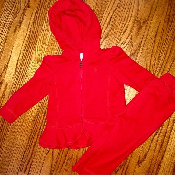 Ralph Lauren Other - Red Ralph Lauren 12 Month Sweatsuit
